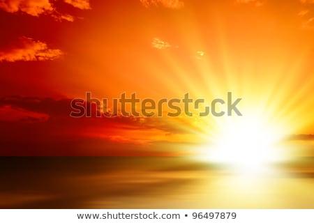Heldere zon oranje hemel zee schoonheid Stockfoto © haraldmuc