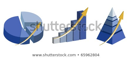 Illustration Of Raising Pie Pyramid And Bar Charts Isolated Ov Photo stock © alexmillos
