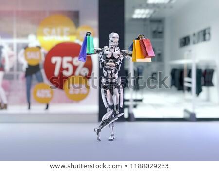 Android robot bevásárlószatyor izolált fehér számítógép Stock fotó © Kirill_M
