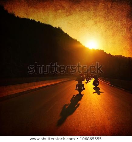 Stock foto: Schatten · Biker · Straße · Reiten · Fahrrad · städtischen