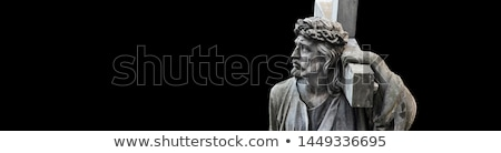 crucifixion christian cross with jesus christ statue isolated o stock photo © stevanovicigor