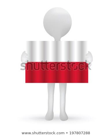 small 3d man holding a Polish Flag Stock photo © Istanbul2009