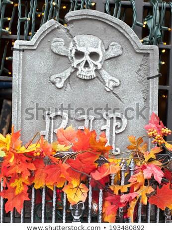 Statues of gravestone at a window basket Stock photo © bmonteny