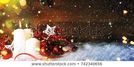 Foto stock: Quente · ouro · vermelho · natal · luz · de · velas · ardente