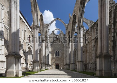 Open roof of Igreja do Carmo ruins in Lisbon Stock photo © meinzahn