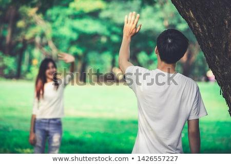 Vaarwel foto vrolijk jongen meisje gezegde Stockfoto © Novic