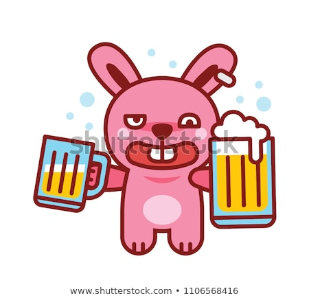drunken rabbit with a mug of beer Stock photo © ddvs71