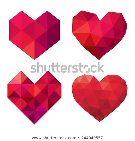 polígono · coração · cartão · valentine · dia · abstrato - foto stock © unkreatives