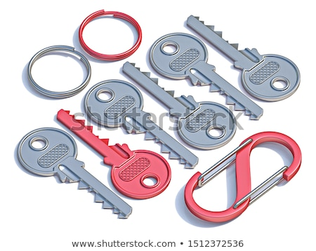 Chain fastened by a red ring. 3D image. stock photo © ISerg