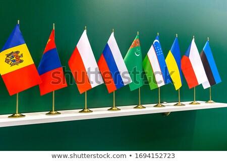 Oroszország Mongólia miniatűr zászlók izolált fehér Stock fotó © tashatuvango