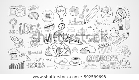 Infografía trabajo en equipo lluvia de ideas diseno elementos computadoras Foto stock © DavidArts