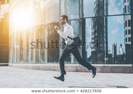 Stock photo: Business man running side