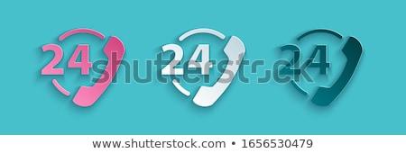 24 wsparcia zielone wektora ikona projektu Zdjęcia stock © rizwanali3d