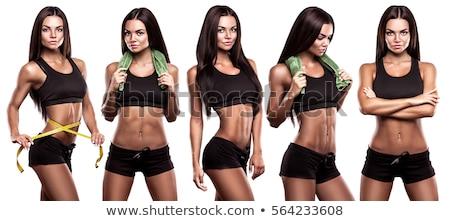 Isolato fitness ragazza capelli castani fitness donna felice Foto d'archivio © fuzzbones0