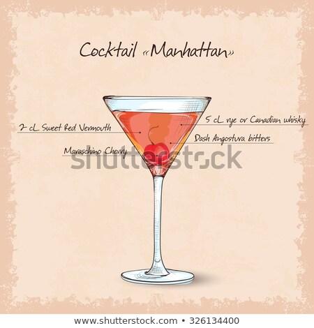 cocktail manhattan scetch Stock photo © netkov1