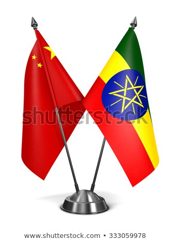 Kína Etiópia miniatűr zászlók izolált fehér Stock fotó © tashatuvango