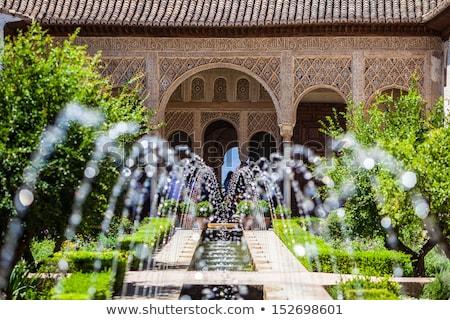 antigo · pormenor · coluna · alhambra · palácio · Espanha - foto stock © backyardproductions