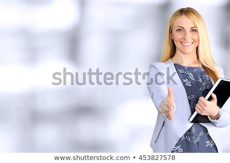 senior · zakenvrouw · handdruk · portret · geïsoleerd · witte - stockfoto © kurhan
