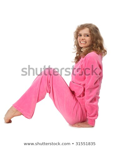 Stock photo: Girl in pink clothes represents  letter n