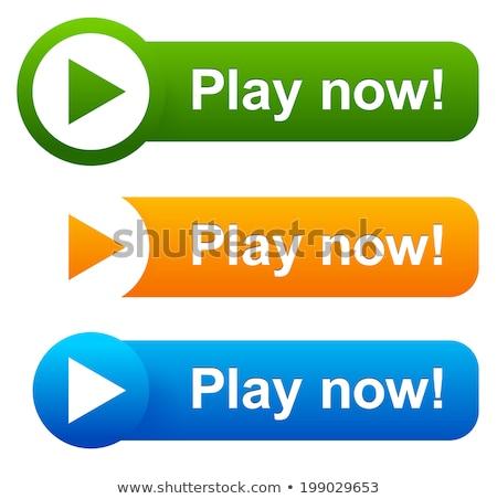 играть сейчас синий вектора икона дизайна Сток-фото © rizwanali3d