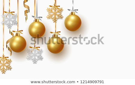 Golden realistic vector Christmas balls  yellow stock photo © rommeo79
