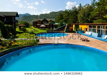 a beautiful view of pool in house in a sunny day with wooden fl stock photo © jrstock