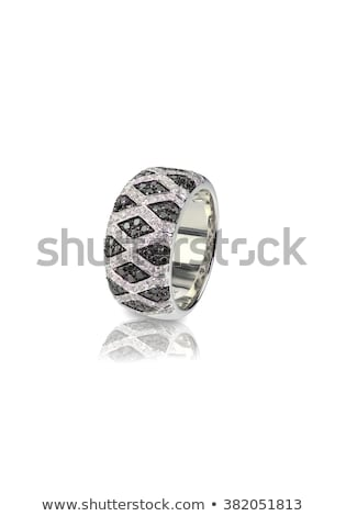 Stock photo: Black Onyx and Diamond Pave Wedding  Anniversary Ring