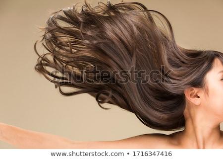Gyönyörű nő göndör haj izolált bézs portré szexi Stock fotó © dashapetrenko