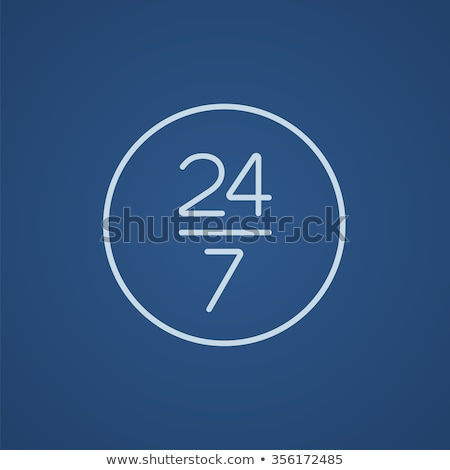 open 24 hours and 7 days in wheek sign line icon stock photo © rastudio