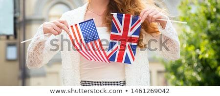 Vrouw vlag groot-brittannië computer meisje Stockfoto © andreasberheide
