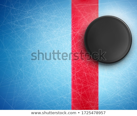 Red abstract hockey background with black puck Stock photo © saicle