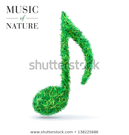 Treble clef sign made up from black music notes on white Stock photo © Evgeny89