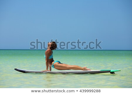 vrouw · oefenen · yoga · hond · pose · strand - stockfoto © RAStudio