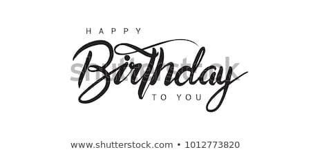 Stockfoto: Zwarte · tag · witte · tekst · gelukkige · verjaardag · gelukkig