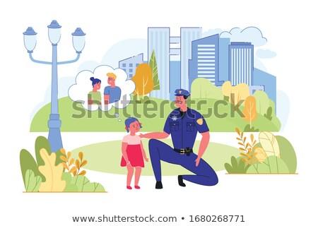 Polícia crianças casal pequeno crianças brincando carro Foto stock © meshaq2000