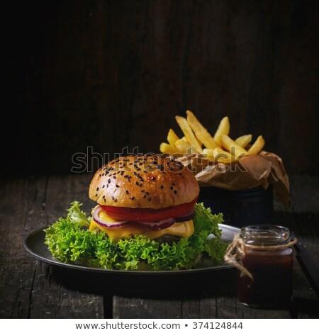 Hamburger fekete üveg kézzel készített ékszerek stúdió Stock fotó © user_9834712