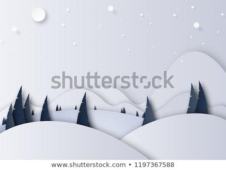 Karácsony díszlet fából készült deszkák fa hó Stock fotó © alphaspirit