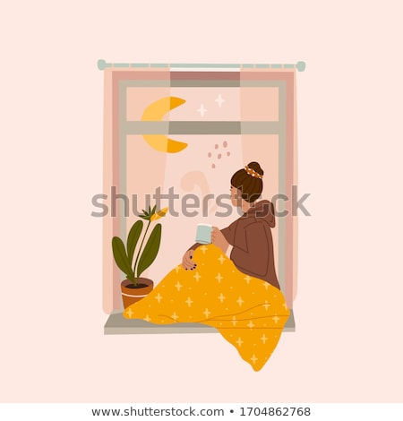 Stok fotoğraf: Kız · pencere · bakıyor · dışarı · çiçekler