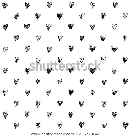 手描き 心 パターン シームレス 黒白 ストックフォト © ivaleksa