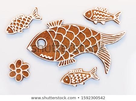 Mézeskalács hal süti izolált fehér felső Stock fotó © Bozena_Fulawka