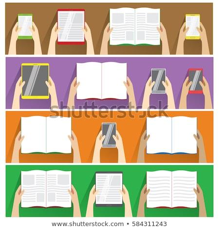 Hands holding open book, smartphones and tablet computer. Top view. Flat design modern vector illust Stock photo © vasilixa