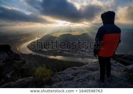 mountain Lilienstein in winter Stock photo © LianeM