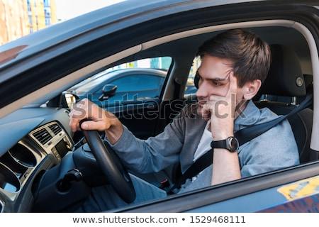Conductor atasco de tráfico retrato Asia hombre de negocios Foto stock © szefei