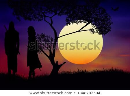 masai man silhouette at sunset stock photo © adrenalina