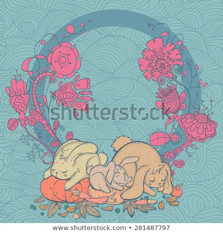 Sleeping Baby Vector Icon - Silhouette in Floral Frame with Ribbon Caption Stock photo © Loud-Mango