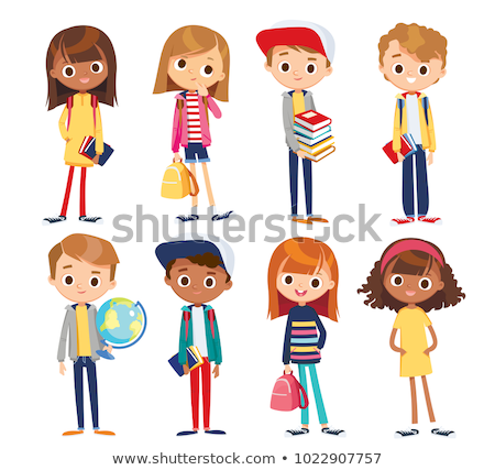 set of different colorful cartoon kids characters in different c stock photo © curiosity