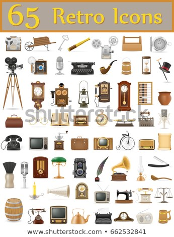 Foto stock: Big Set Of Much Objects Retro Old Vintage Icons Stock Vector Ill