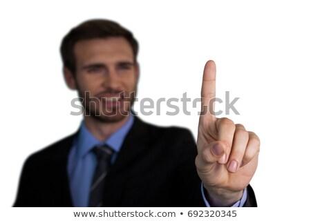 Mosolyog üzletember megérint mutatóujj interfész fehér Stock fotó © wavebreak_media