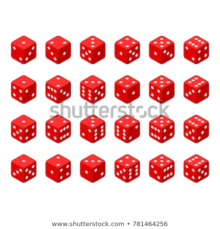 playing dice vector set realistic 3d illustration of two red dice with shadow game dice set stock photo © pikepicture