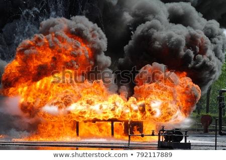 Brandweerlieden groot brand zwart wit illustratie vector Stockfoto © derocz